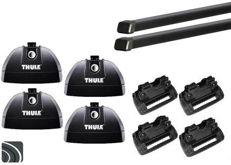 Thule dakdragerset Jaguar XF Sportbrake van 2012 tot 2015 met geïntegreerde railing | Complete set incl. sloten